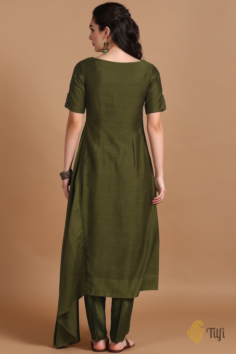 Deep Olive Raw Silk Suit Set