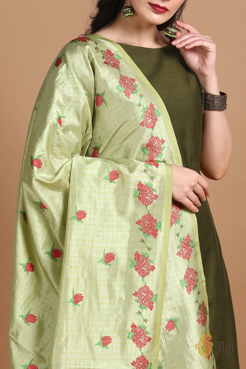 Deep Olive Raw Silk Suit Set with Light Pista Green Pure Katan Silk Handloom Dupatta