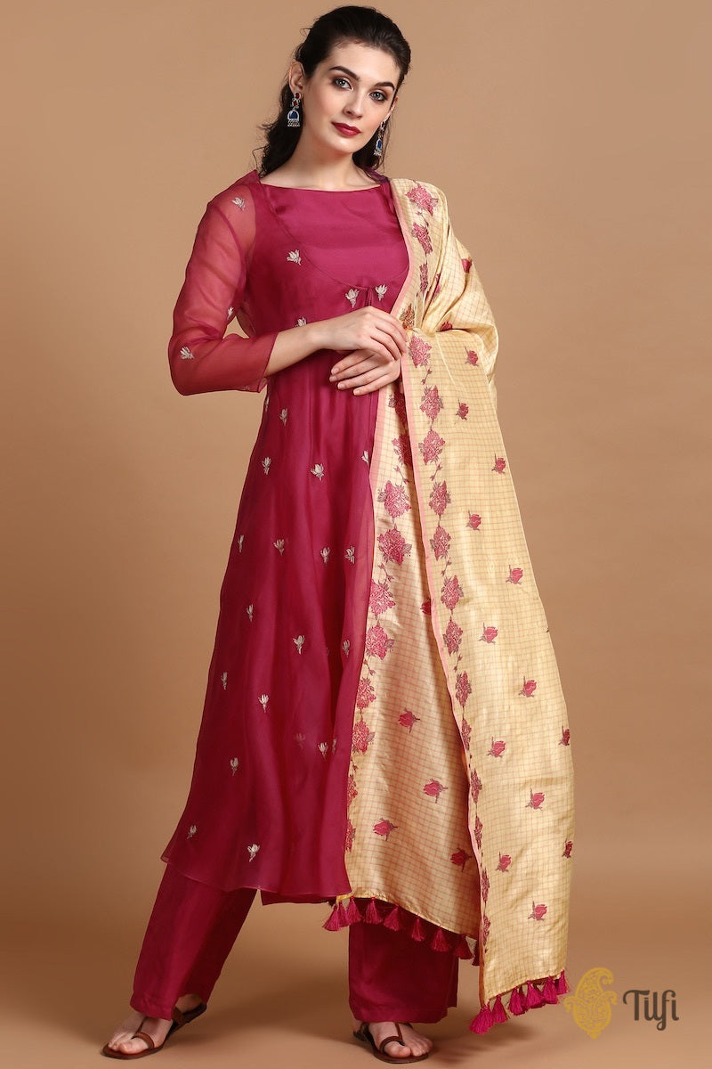 Mulberry Red Silk-Organza Suit Set with Light Beige-Pink Pure Katan Silk Handloom Dupatta