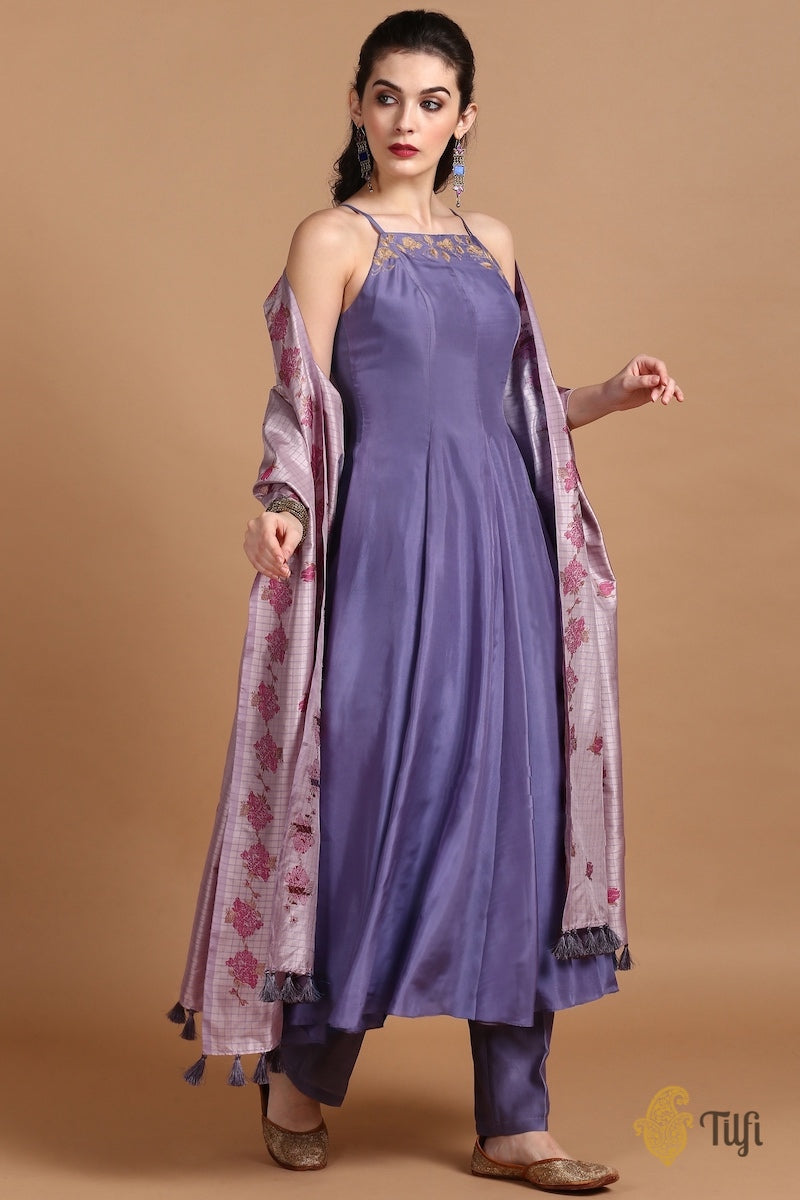 Iris Purple Silk Suit Set with Light Mauve Pure Katan Silk Handloom Dupatta