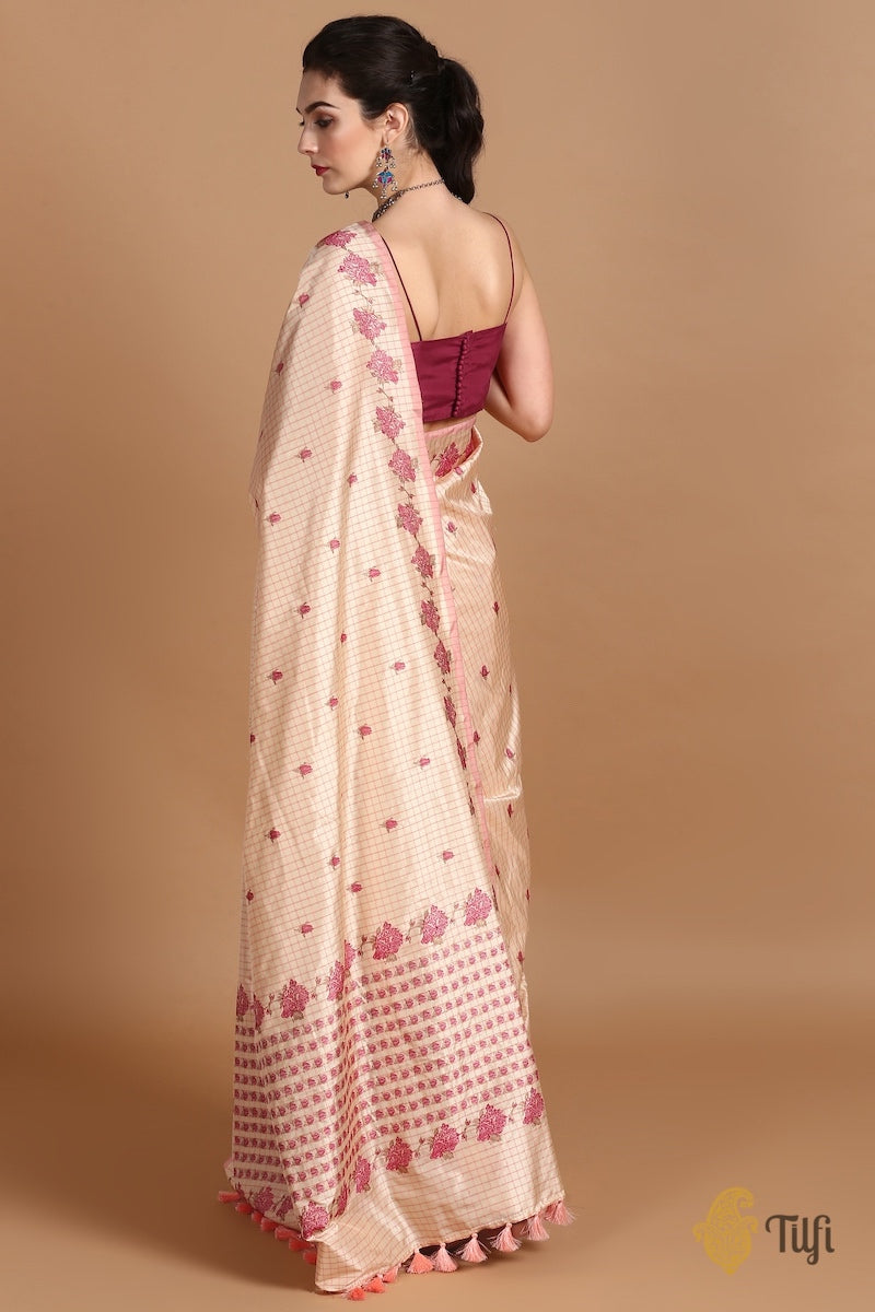 Light Beige-Pink Pure Katan Silk Banarasi Handloom Saree