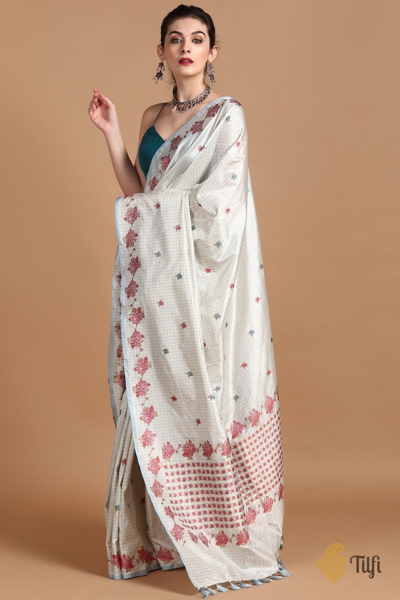 White-Light Blue Pure Katan Silk Banarasi Handloom Saree