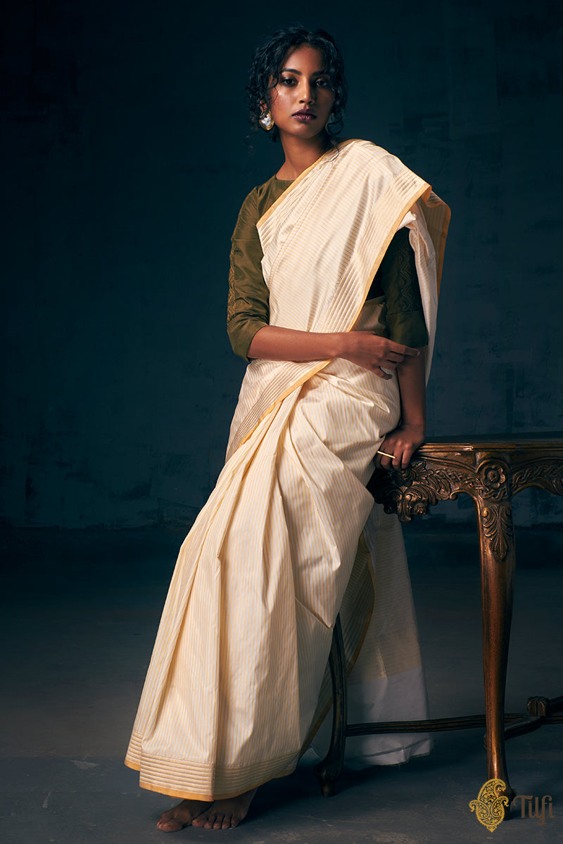 White-Light Yellow Pure Katan Silk Banarasi Handloom Saree