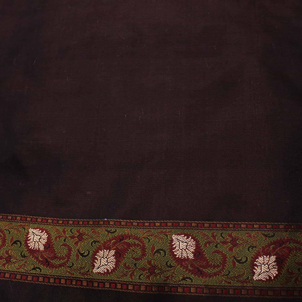 Black-Brown Pure Soft Satin Silk Tanchoi Jamawar Banarasi Handloom Saree