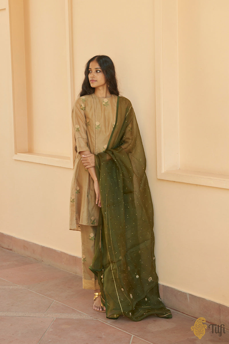 Green Pure Kora Silk by Cotton Handwoven Banarasi Co-Ord Set