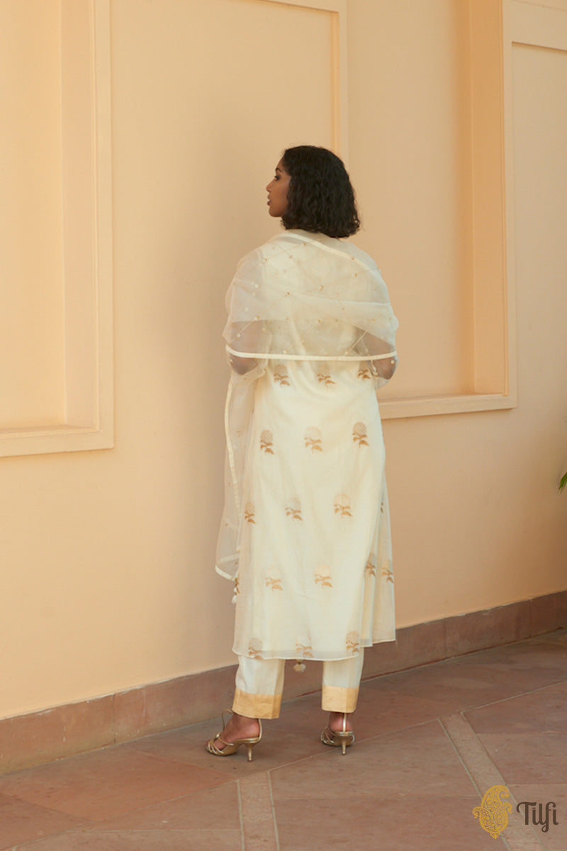 Off-White Pure Kora Silk by Cotton Handwoven Banarasi Suit Set
