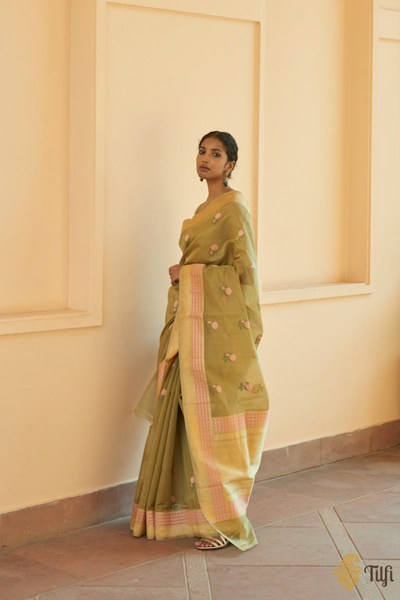 Moss Green Pure Kora Silk by Cotton Handwoven Banarasi Saree