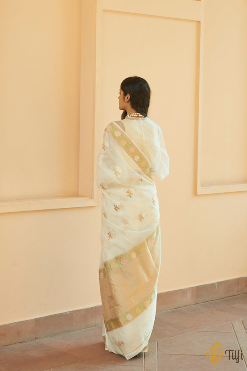 'Morning Dew' Off-White Pure Kora Silk by Cotton Handwoven Banarasi Saree