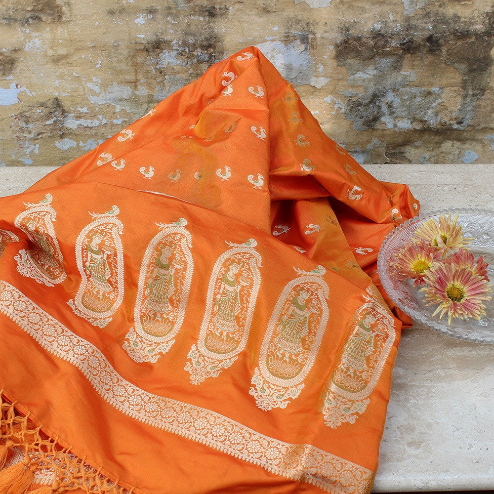 Orange Pure Katan Silk Banarasi Handloom Dupatta