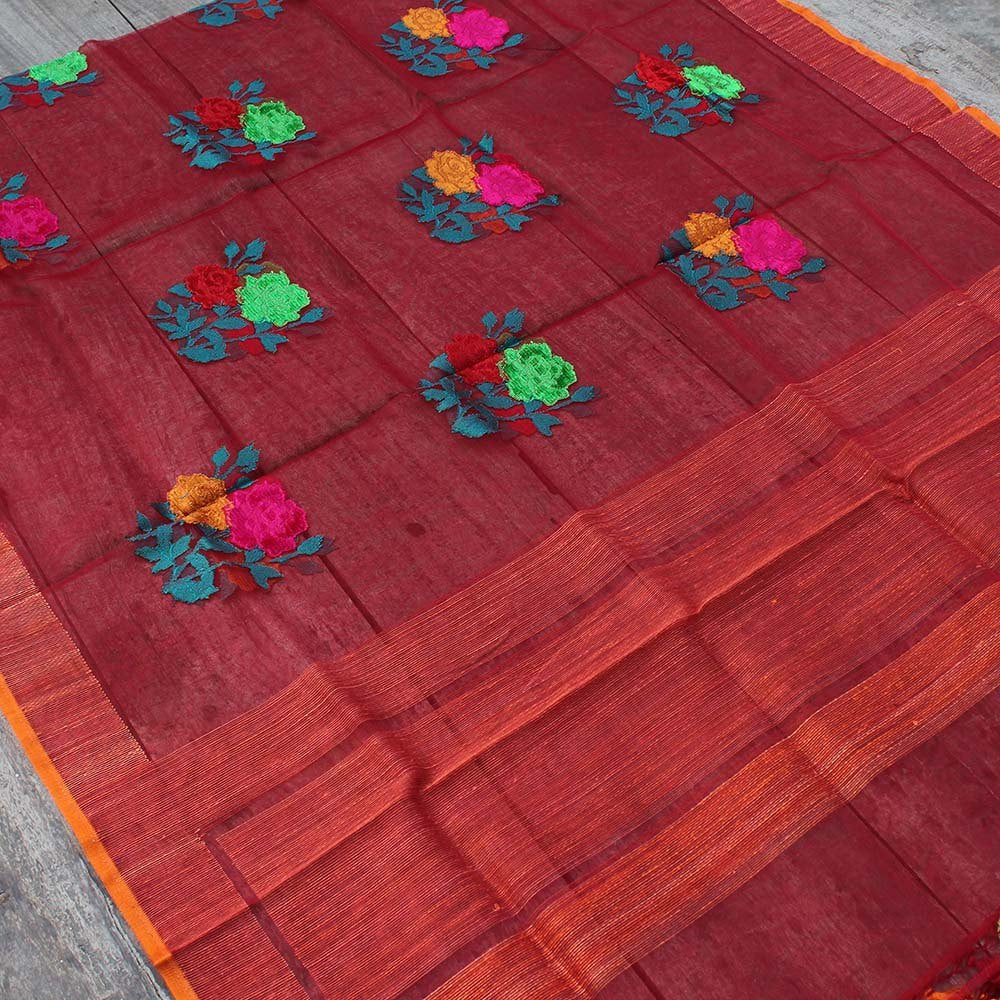 Red Pure Kora Silk Net Banarasi Handloom Dupatta