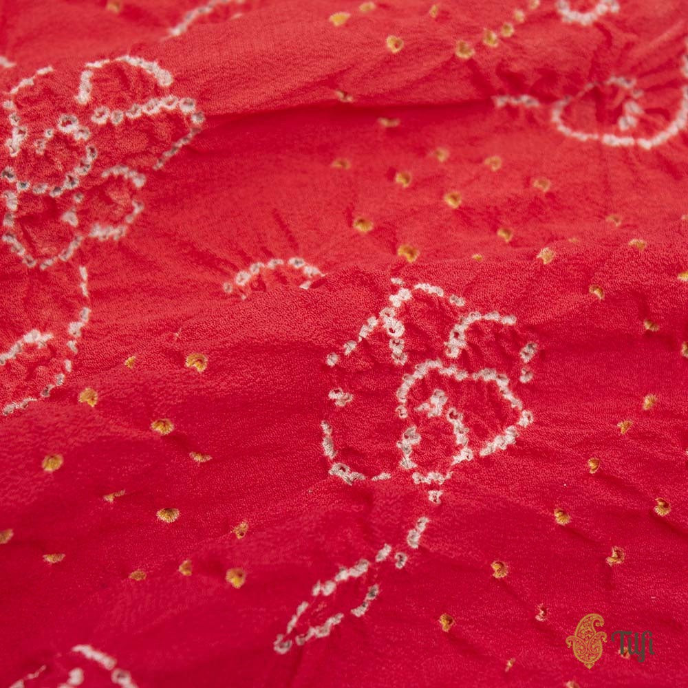 Orange-Red Pure Georgette Banarasi Handloom Bandhani Dupatta