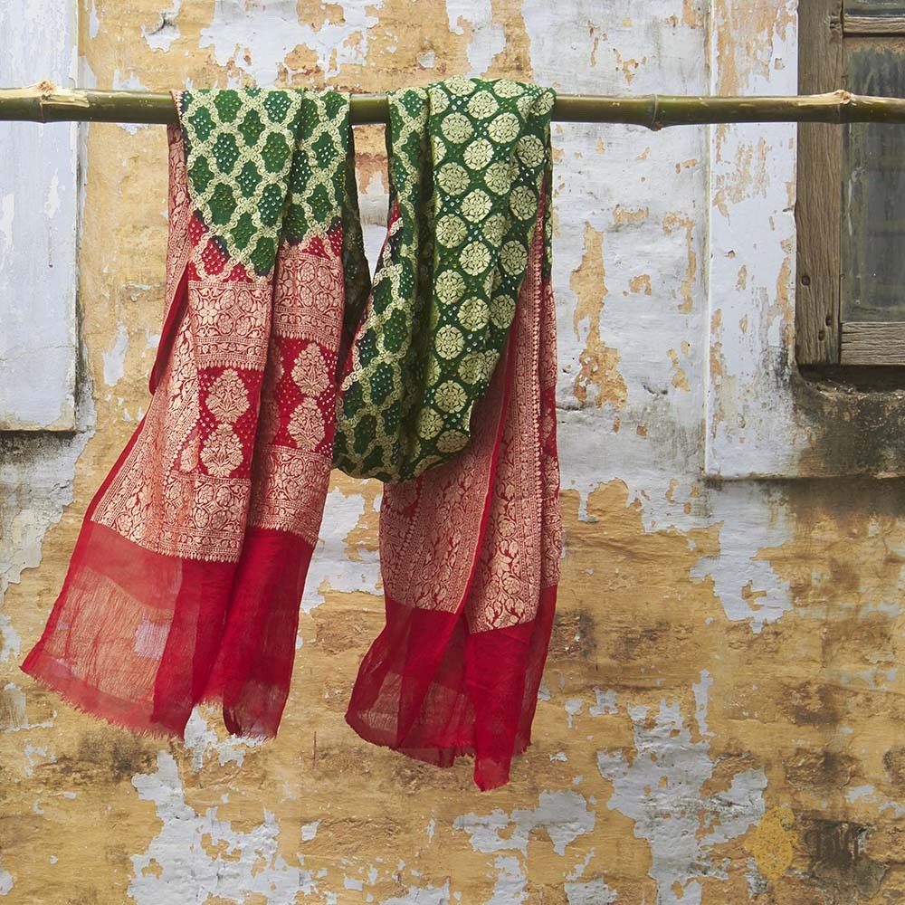 Dark Green-Red Pure Georgette Banarasi Handloom Bandhani Dupatta