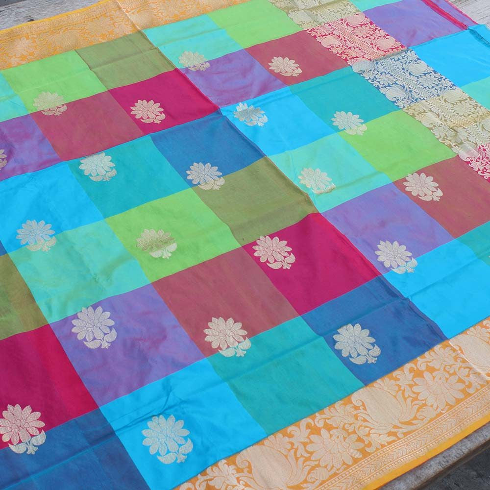 Multicolored Pure Katan Silk Banarasi Handloom Dupatta