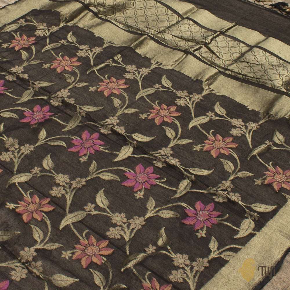Black Pure Kora Net by Cotton Banarasi Handloom Dupatta