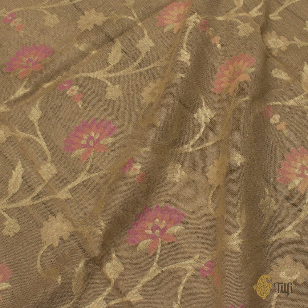 Beige Pure Kora Net by Cotton Banarasi Handloom Dupatta