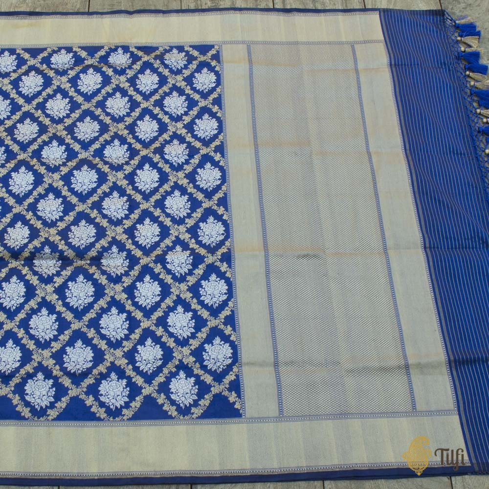 Royal Blue Pure Katan Silk Banarasi Handloom Dupatta