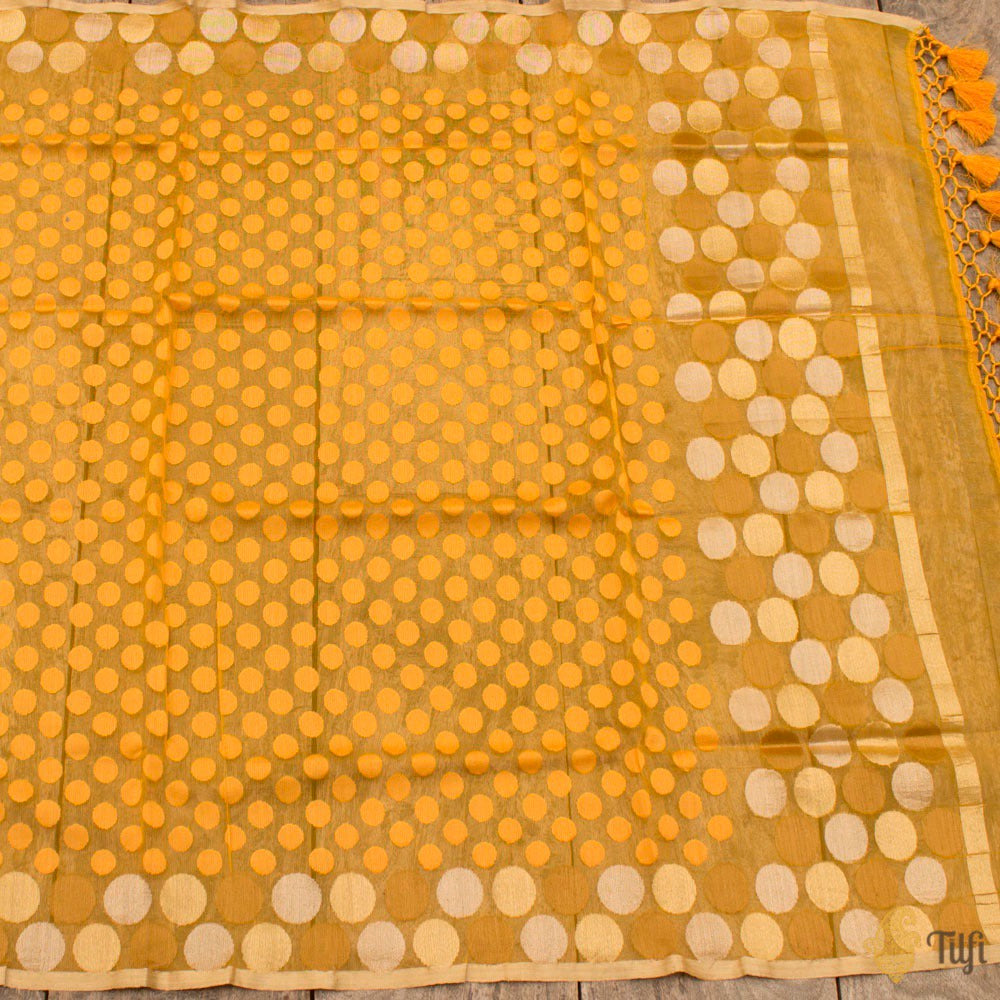 Yellow Pure Kora Silk Net Banarasi Handloom Dupatta