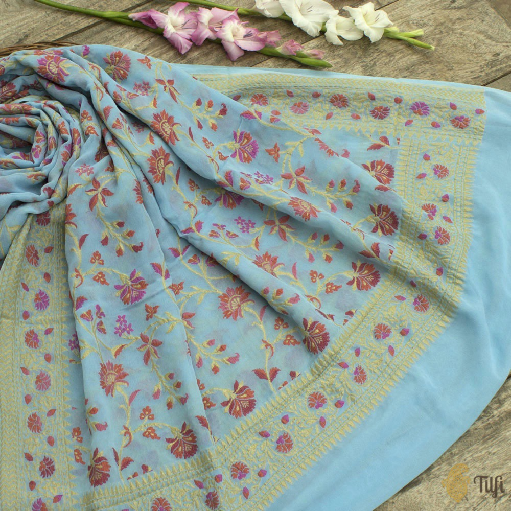 Light Blue Pure Khaddi Georgette Banarasi Handloom Dupatta