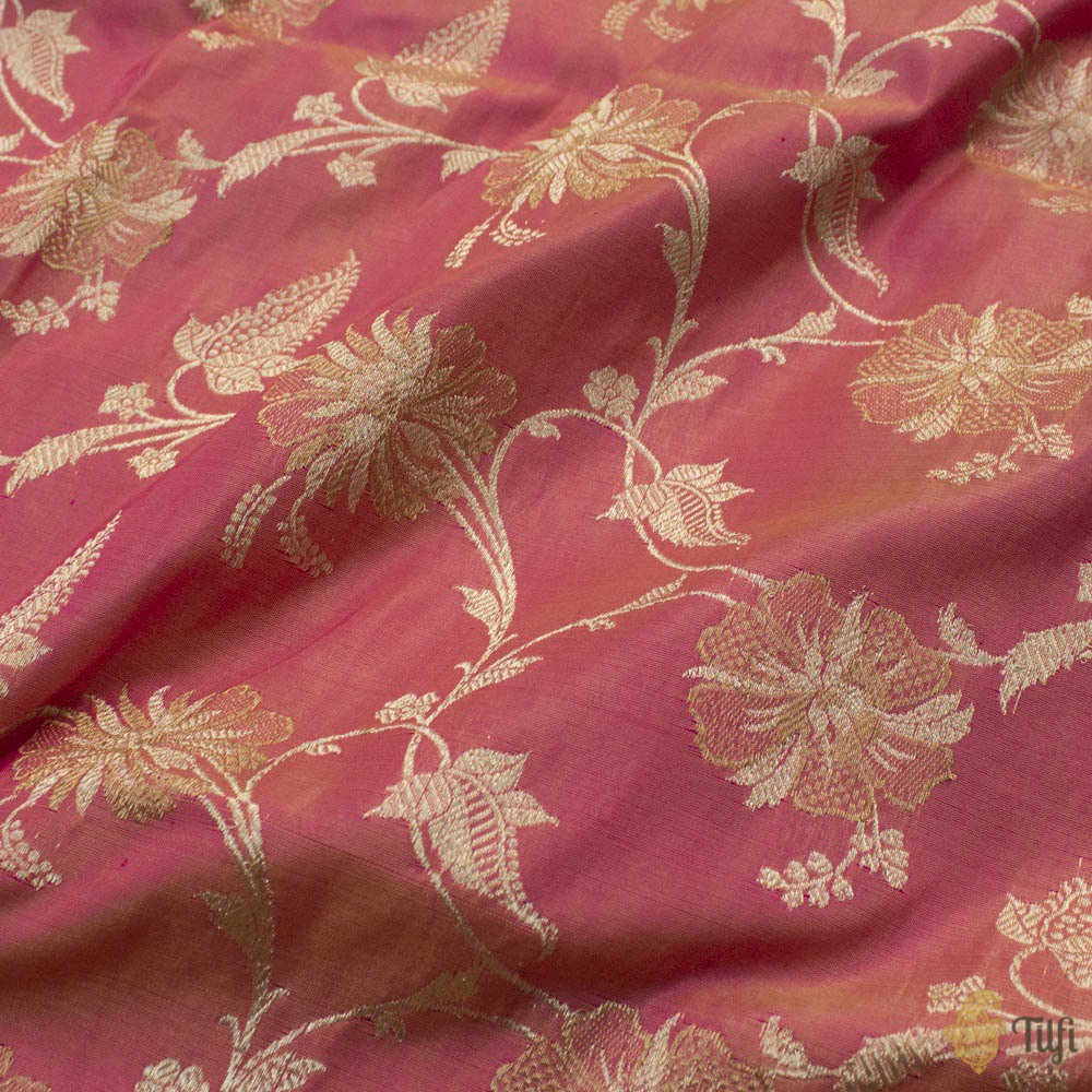 Light Yellow-Pink Pure Katan Silk Banarasi Kadwa Handloom Dupatta