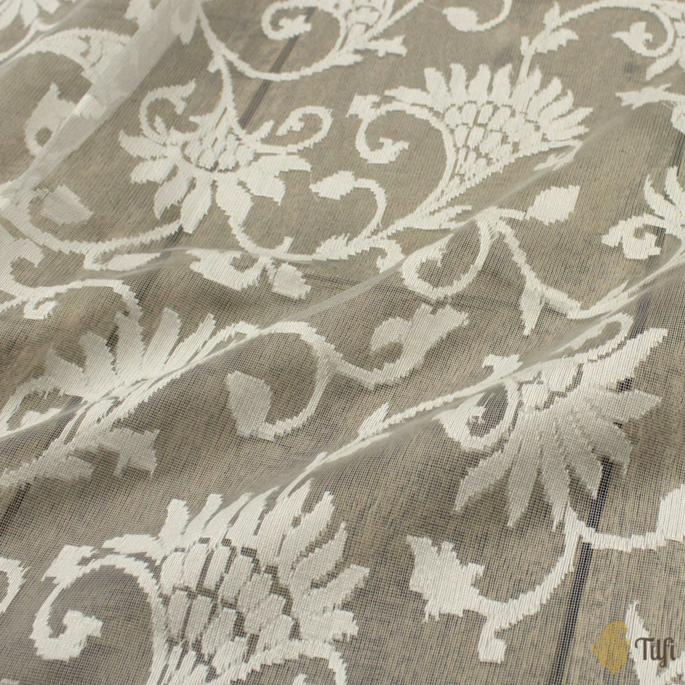 Light Grey Pure Kora Net Banarasi Handloom Dupatta