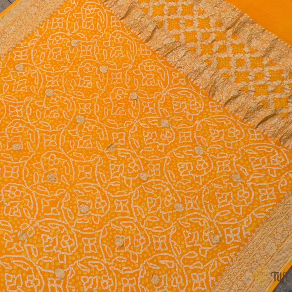 Orange Pure Georgette Banarasi Handloom Bandhani Dupatta