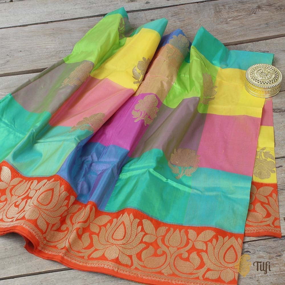 Multicolored Pure Silk Georgette Banarasi Handloom Dupatta