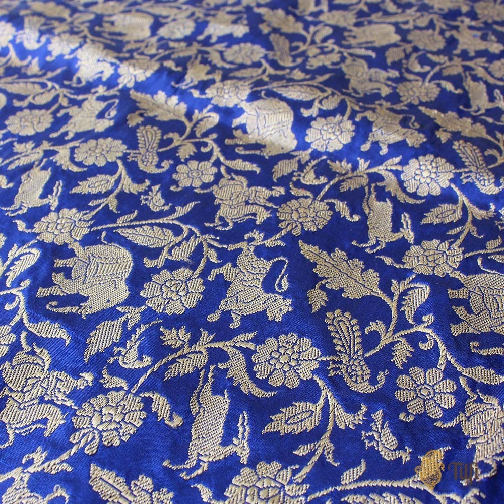 Midnight Blue Pure Katan Silk Banarasi Handloom Dupatta