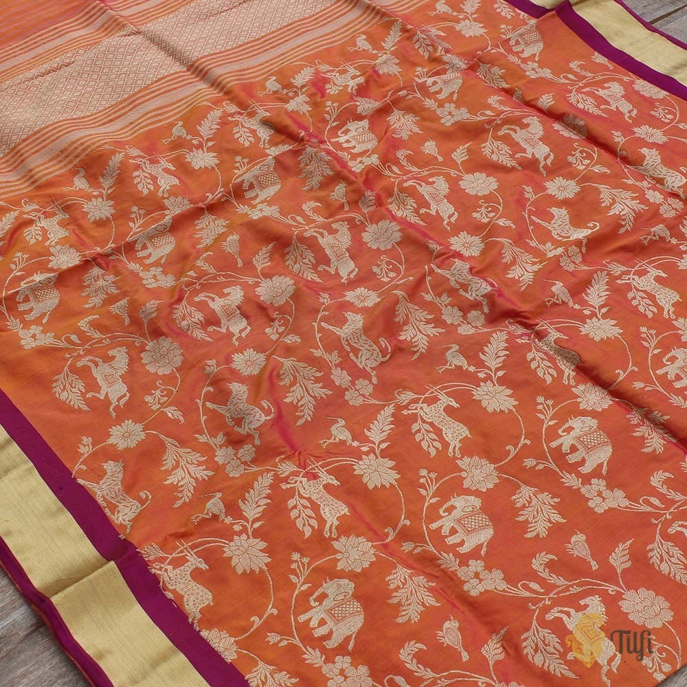 Pink-Orange Pure Katan Silk Banarasi Handloom Dupatta