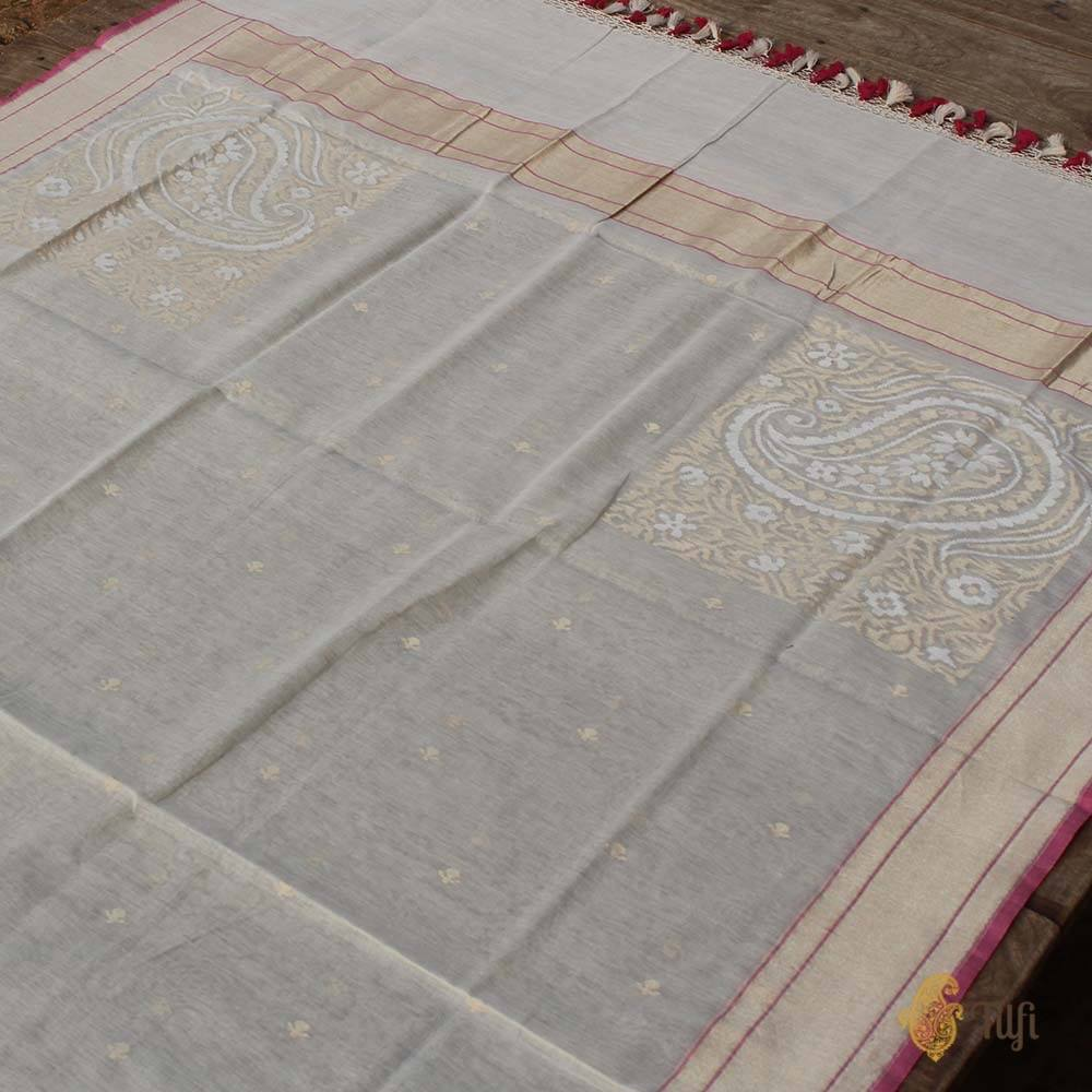 White Pure Cotton Banarasi Jamdani Handloom Dupatta