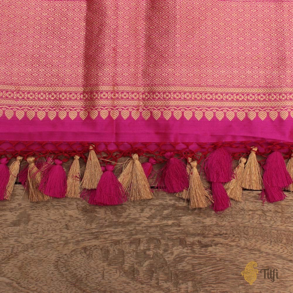 Red-Indian Pink Pure Katan Silk Banarasi Handloom Kadwa Jangla Dupatta