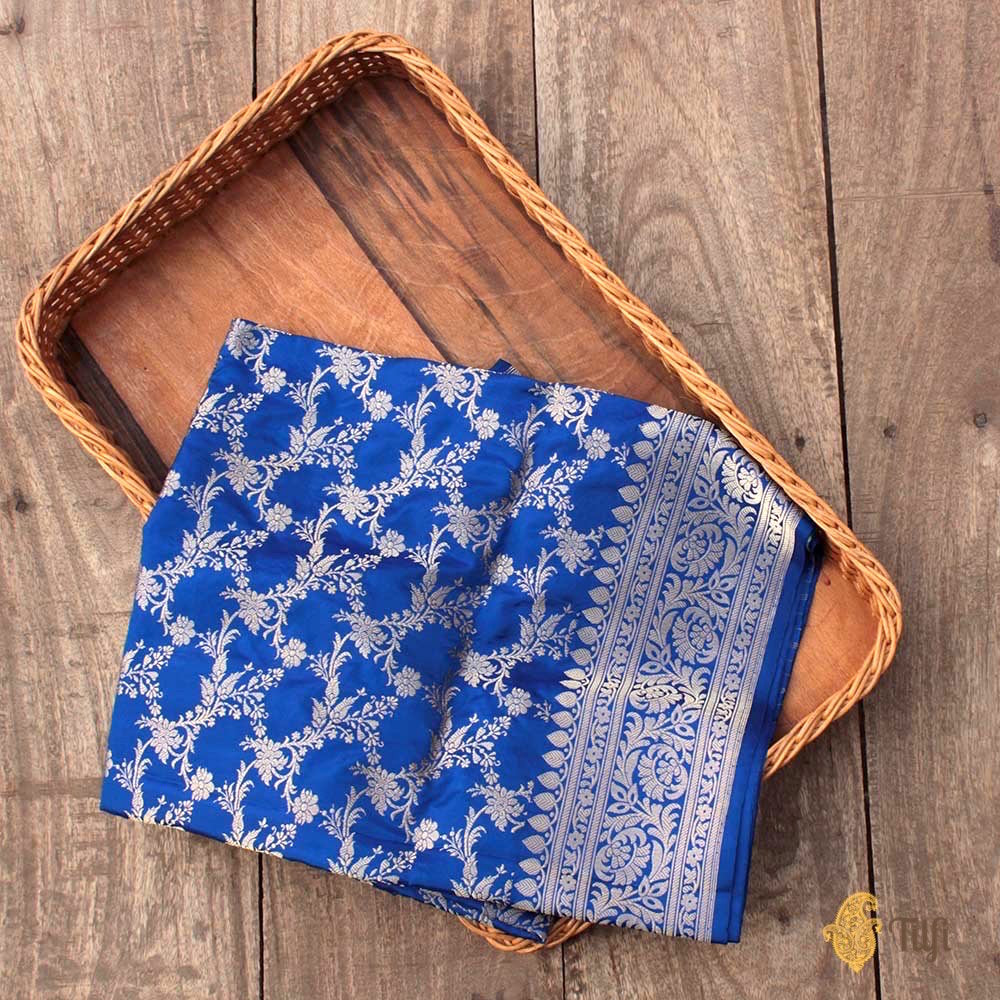 Royal Blue Pure Katan Silk Kadwa Jangla Handloom Dupatta