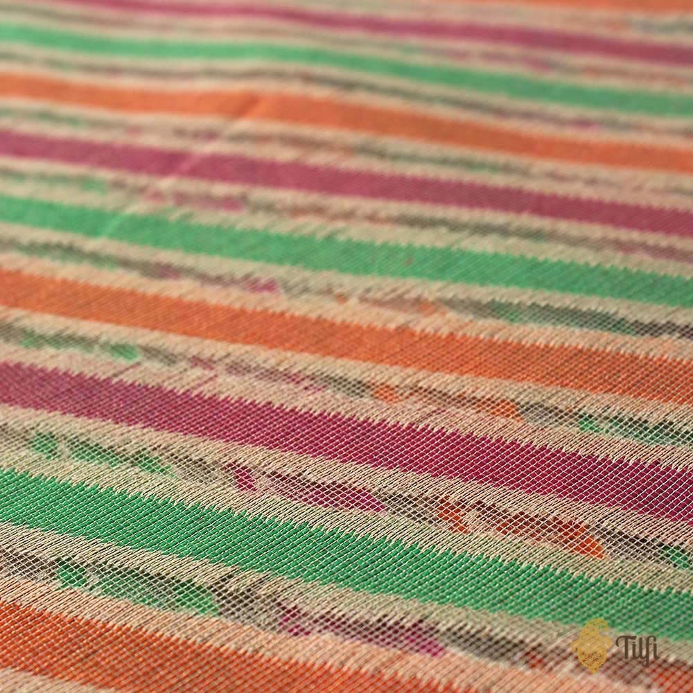 Multicoloured Pure Kora Tissue Net Banarasi Handloom Dupatta