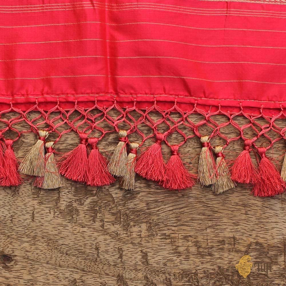Red-Orange Pure Katan Silk Banarasi Handloom Dupatta