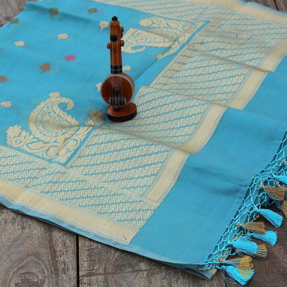 Aqua Blue Pure Cotton Banarasi Handloom Dupatta