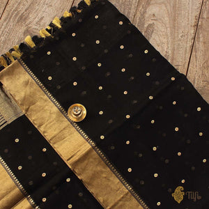 Black Pure Cotton Banarasi Handloom Dupatta