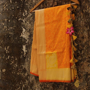 Yellow-Orange Pure Katan Silk Banarasi Handloom Dupatta
