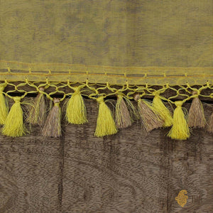Lemon Yellow Pure Kora Net Banarasi Handloom Dupatta
