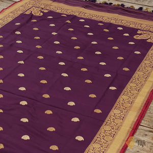 Black-Purple Pure Katan Silk Banarasi Handloom Dupatta