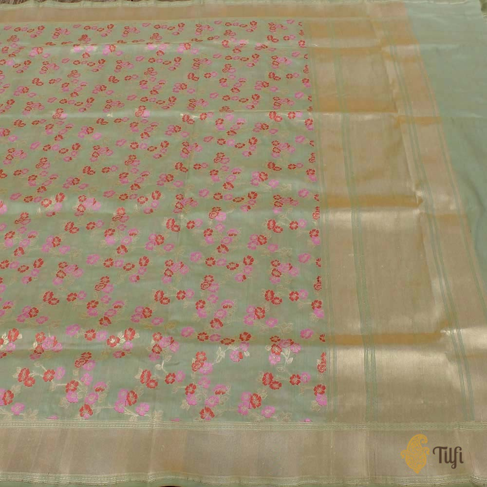 Light Sage Green Pure Katan Silk Banarasi Handloom Dupatta