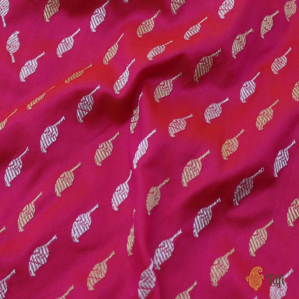 Orange-Pink Pure Katan Silk Banarasi Handloom Dupatta