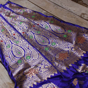 Midnight Blue Pure Katan Silk Banarasi Handloom Lehenga