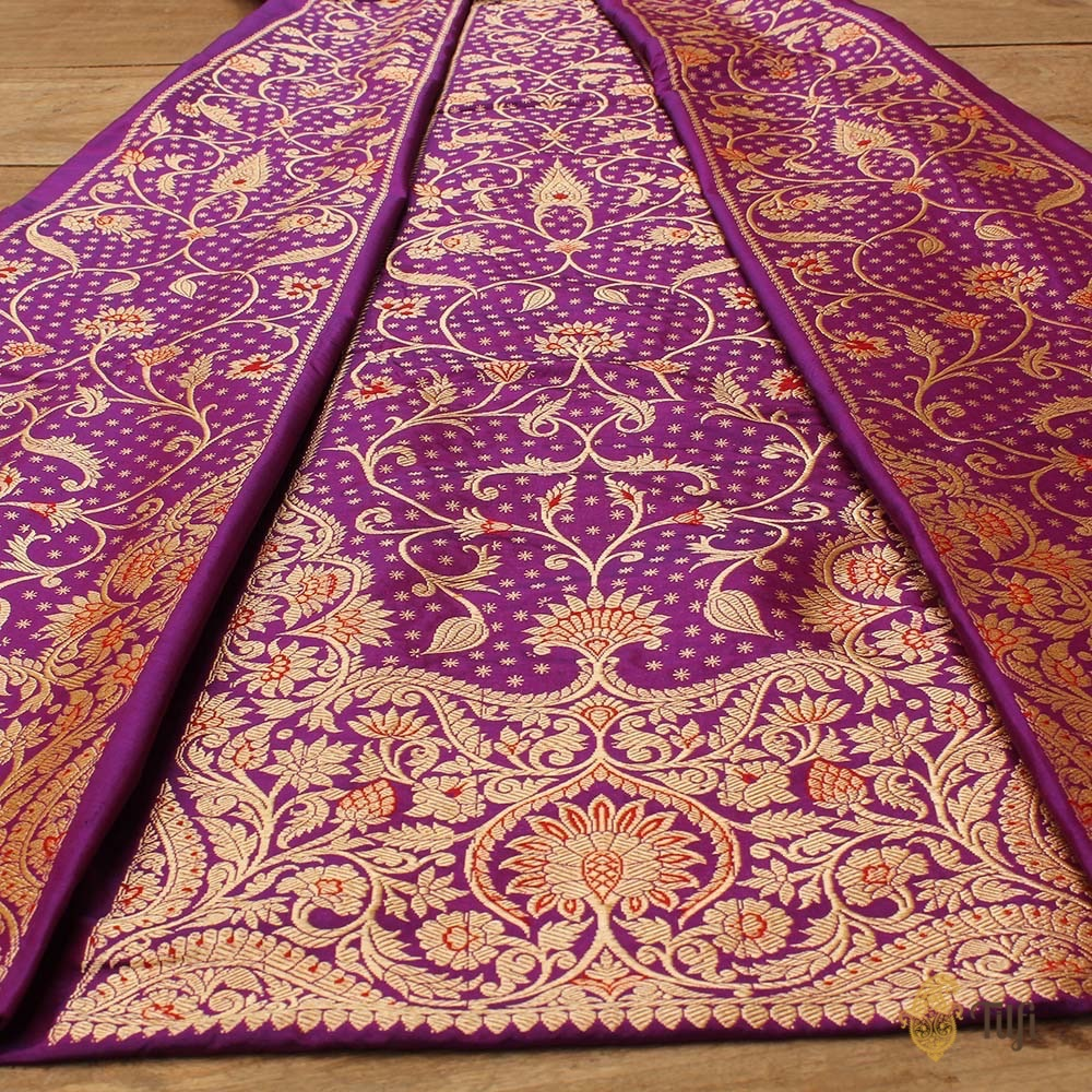 Purple-Magenta & Orange Pure Katan Silk Banarasi Handloom Lehenga Dupatta Set
