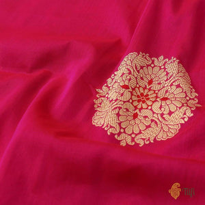 Midnight Blue & Red-Rani Pink Pure Katan Silk Banarasi Handloom Lehenga Dupatta Set