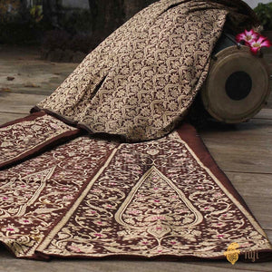 Chocolate Brown & Orange-Yellow Pure Katan Silk Banarasi Handloom Lehenga Dupatta Set