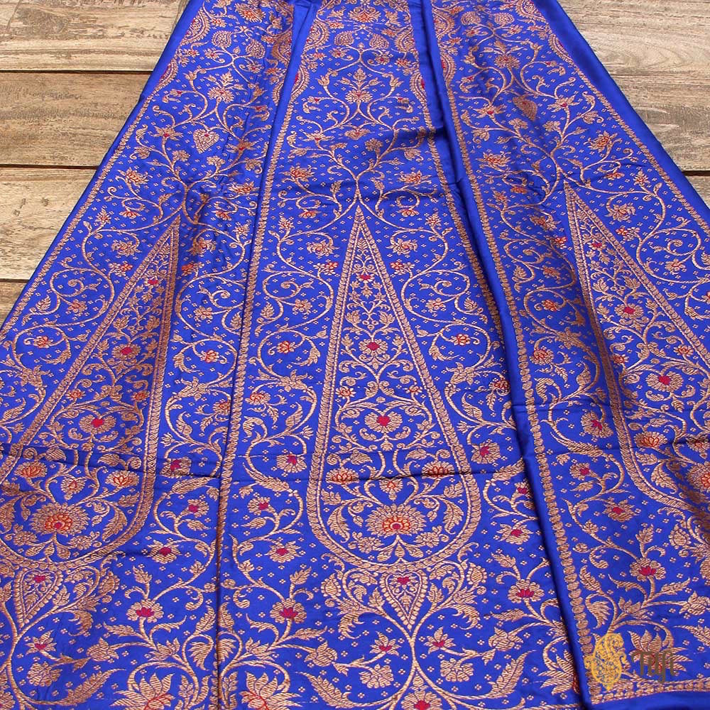 Royal Blue Pure Katan Silk Banarasi Handloom Lehenga