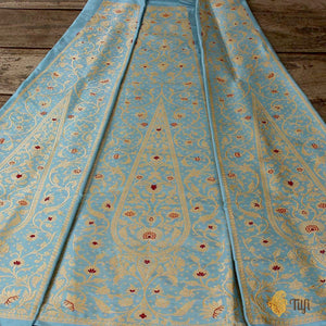 Light Blue Pure Katan Silk Banarasi Handloom Lehenga