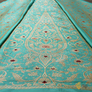 Light Turquoise Blue Pure Katan Silk Banarasi Handloom Lehenga