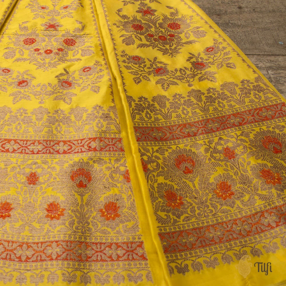Yellow Pure Katan Silk Banarasi Handloom Made-to-measure Lehenga