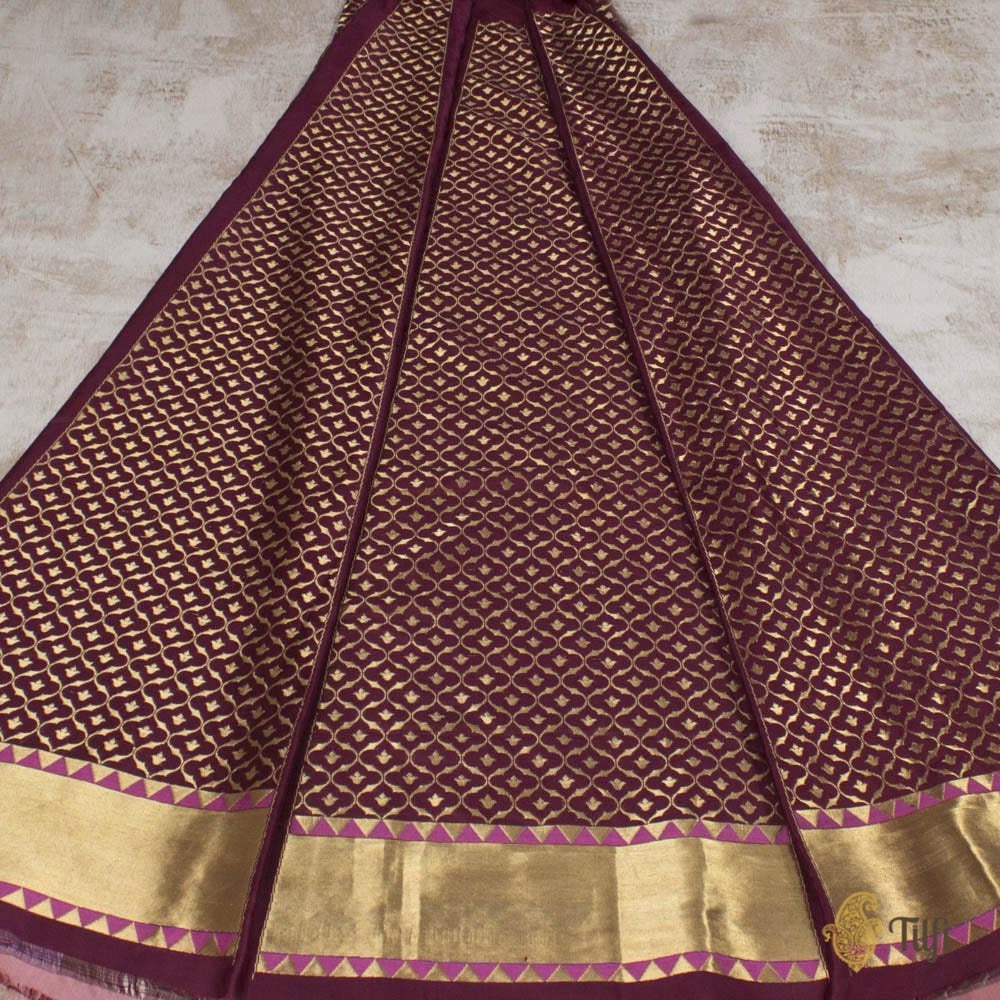 Coke Brown Pure Katan Silk Banarasi Handloom Lehenga