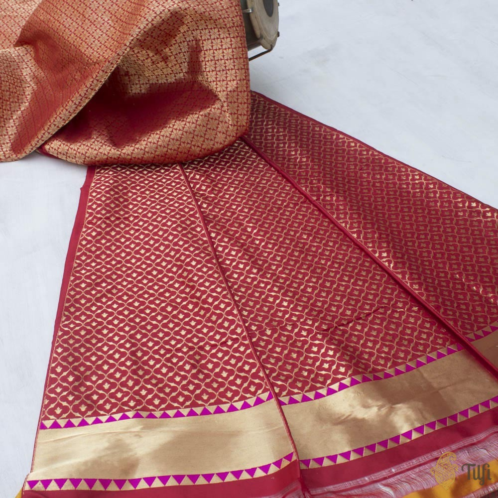 Deep Red Pure Katan Silk Banarasi Handloom Lehenga